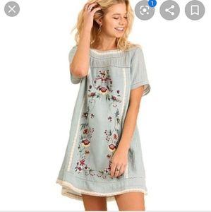 Umgee boho A-Line floral embroidered floral dress